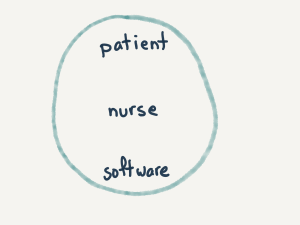 an ellipse containing patient, nurse, and software